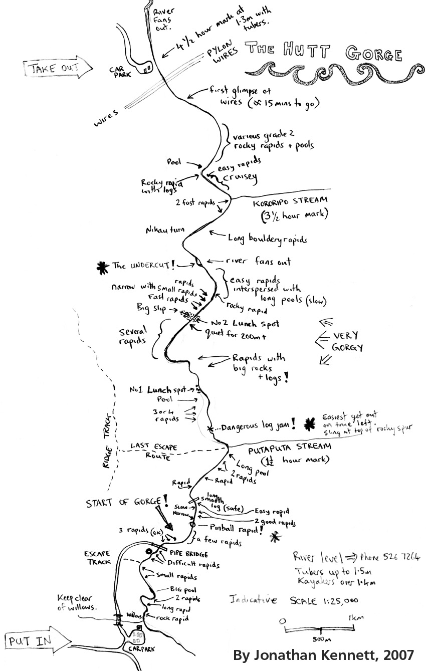 Sketch map of the Hutt Gorge for rafters and tubers